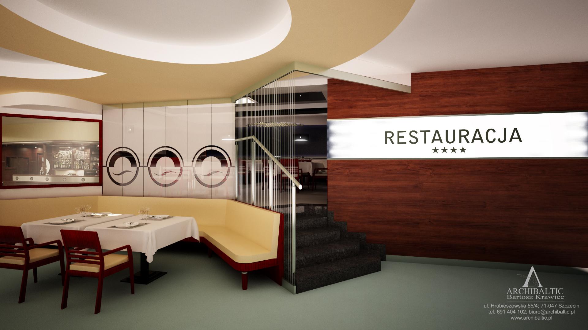 projekt sali **** restauracyjnej
