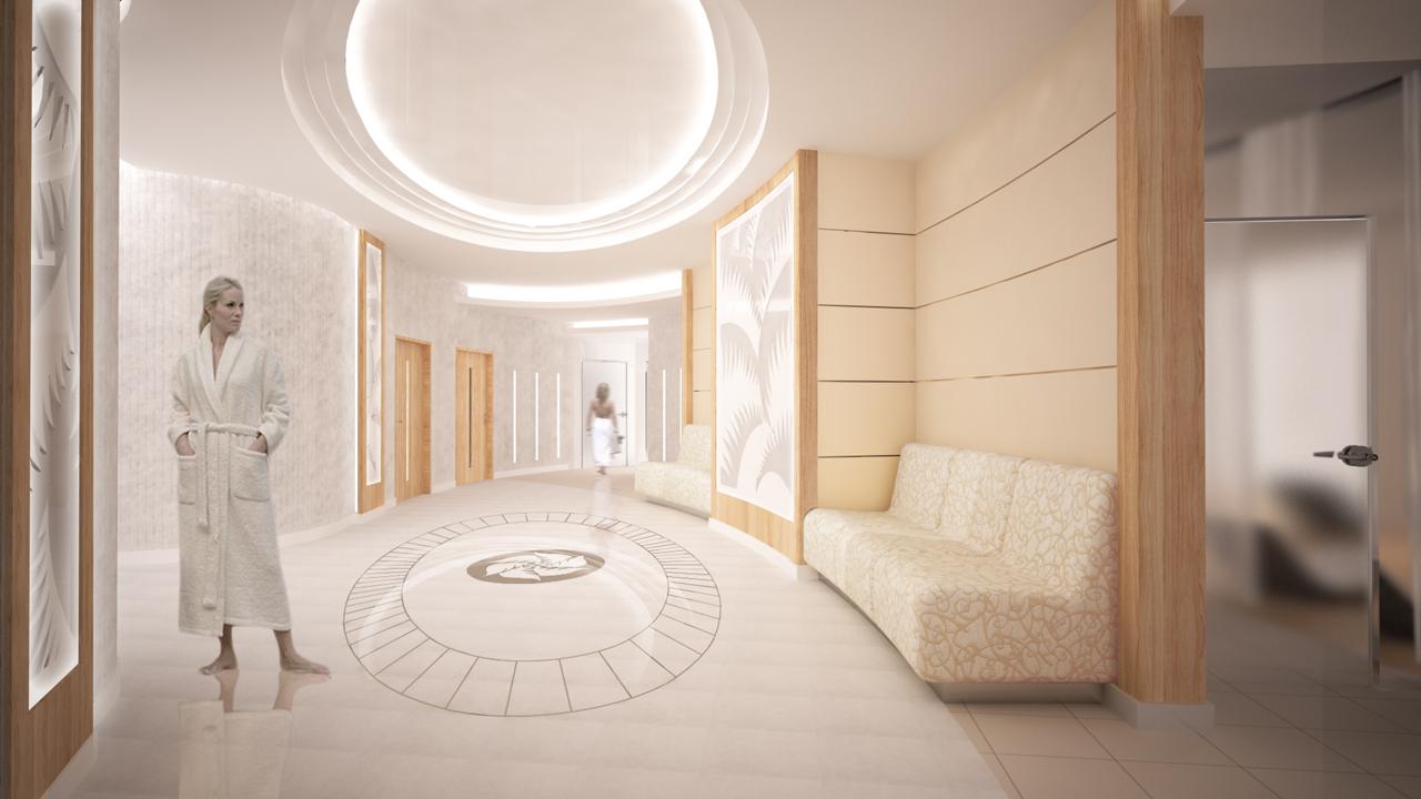 projekt holu Hotelu Lubicz strefa SPA