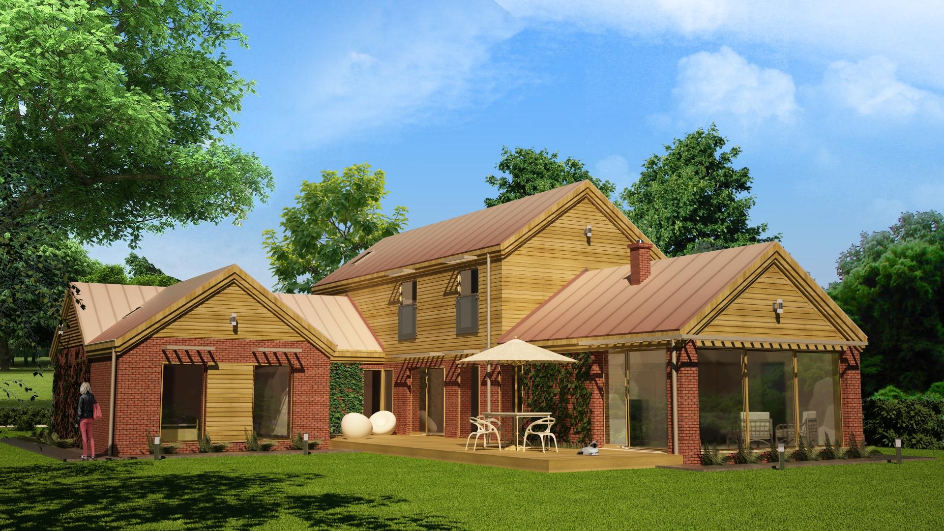 dom jednorodzinny z cegły, widok od ogrodu