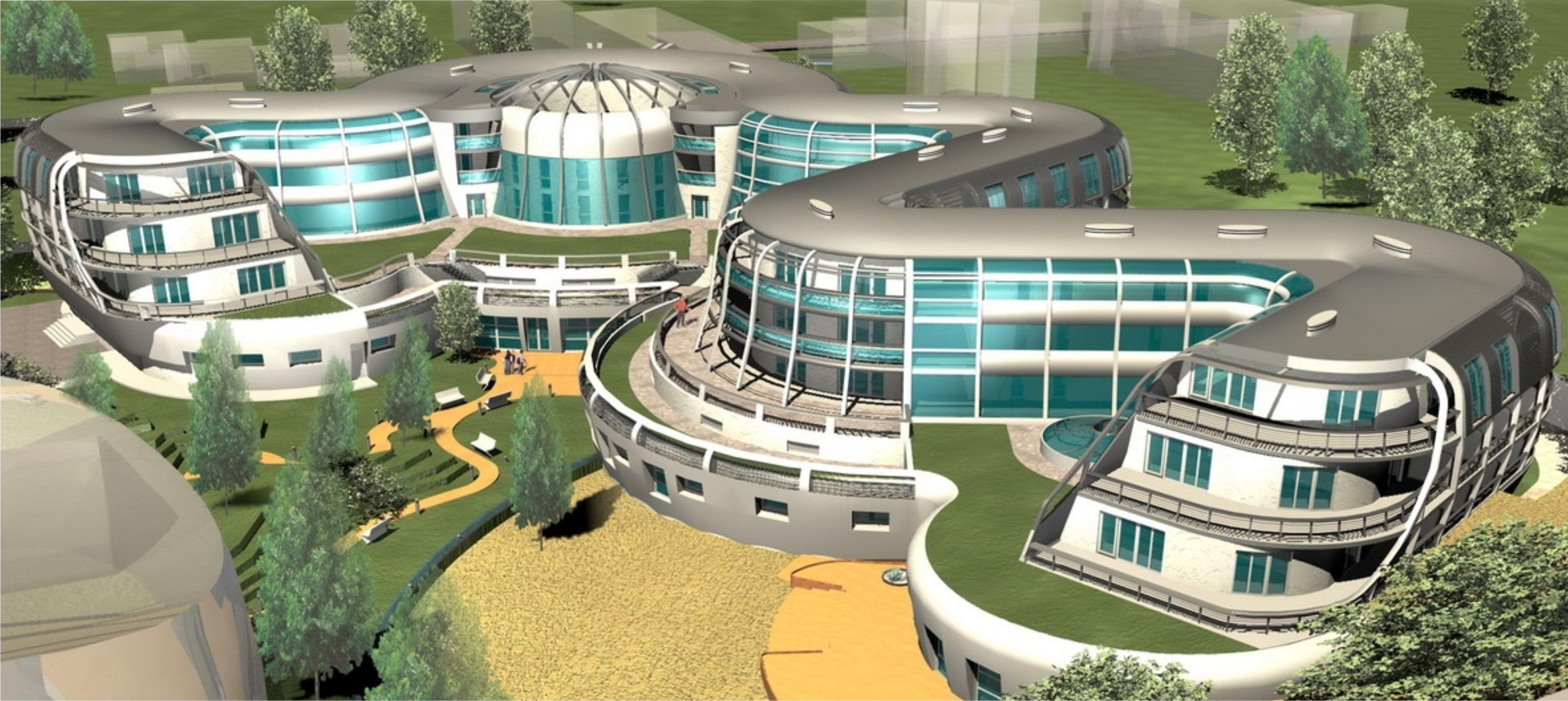 Projekt koncepcyjny hotelu Octopus aksonometria