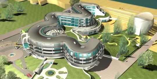 Hotel Octopus - aksonometria, projekt koncepcyjny