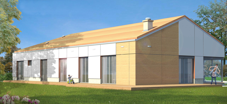 projekt domu jednorodzinnego pod Policami, widok od strony zachodniej