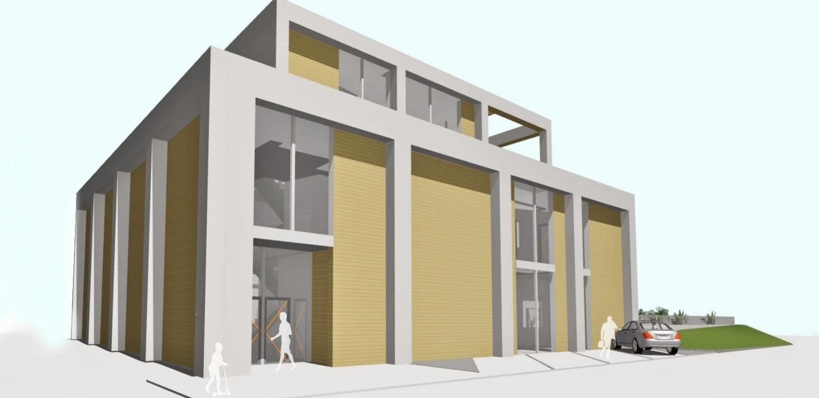 AQUAMARINA II - koncepcja budynku basenu wejście główne