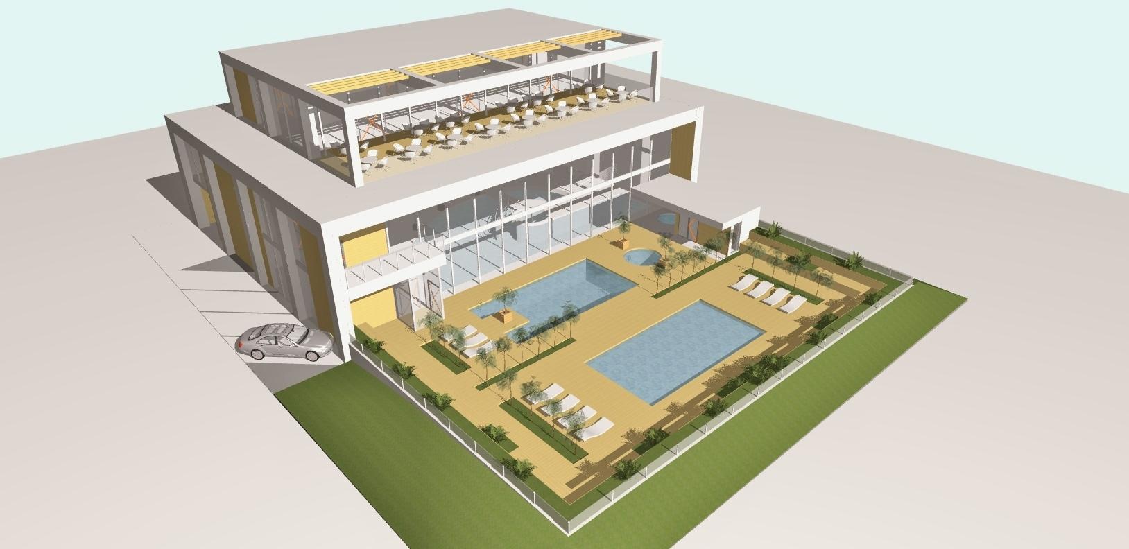 AQUAMARINA II - koncepcja budynku basenu aksonometria