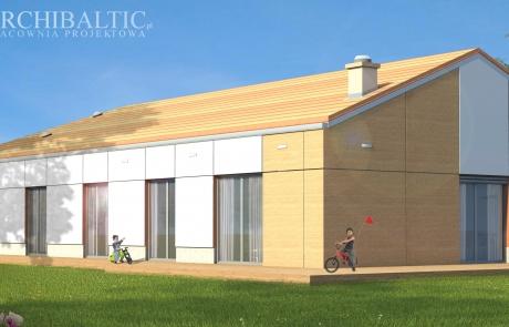 prosty dom jednorodzinny z boniami na elewacji imitującymi drogie panele elewacyjne