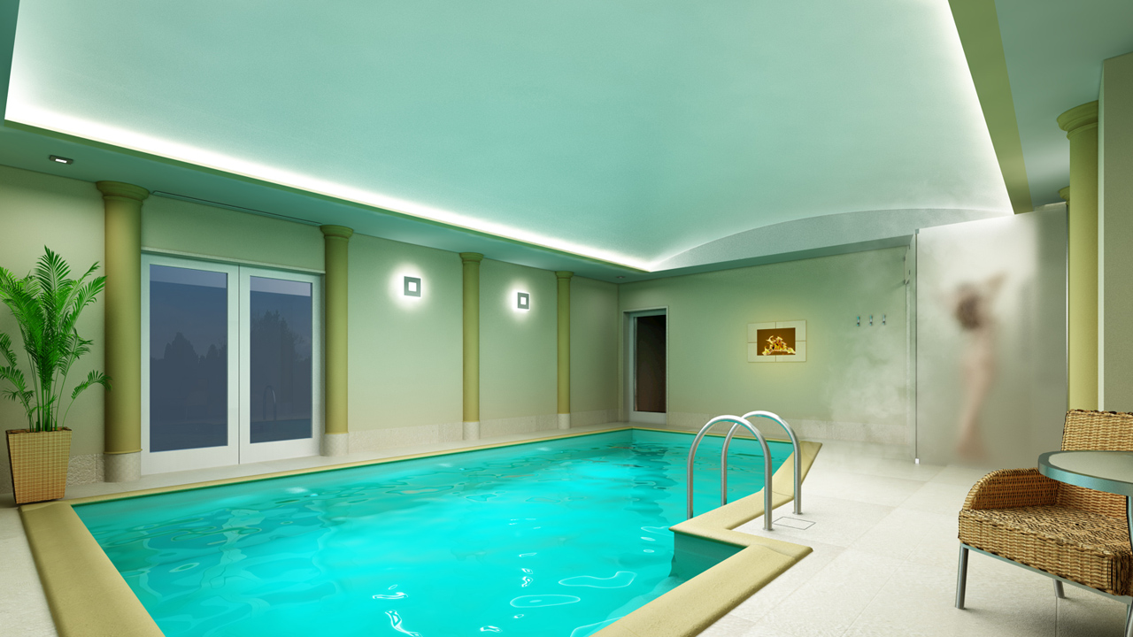 wizualizacja prywatnego basenu z natryskiem i bio-kominkiem