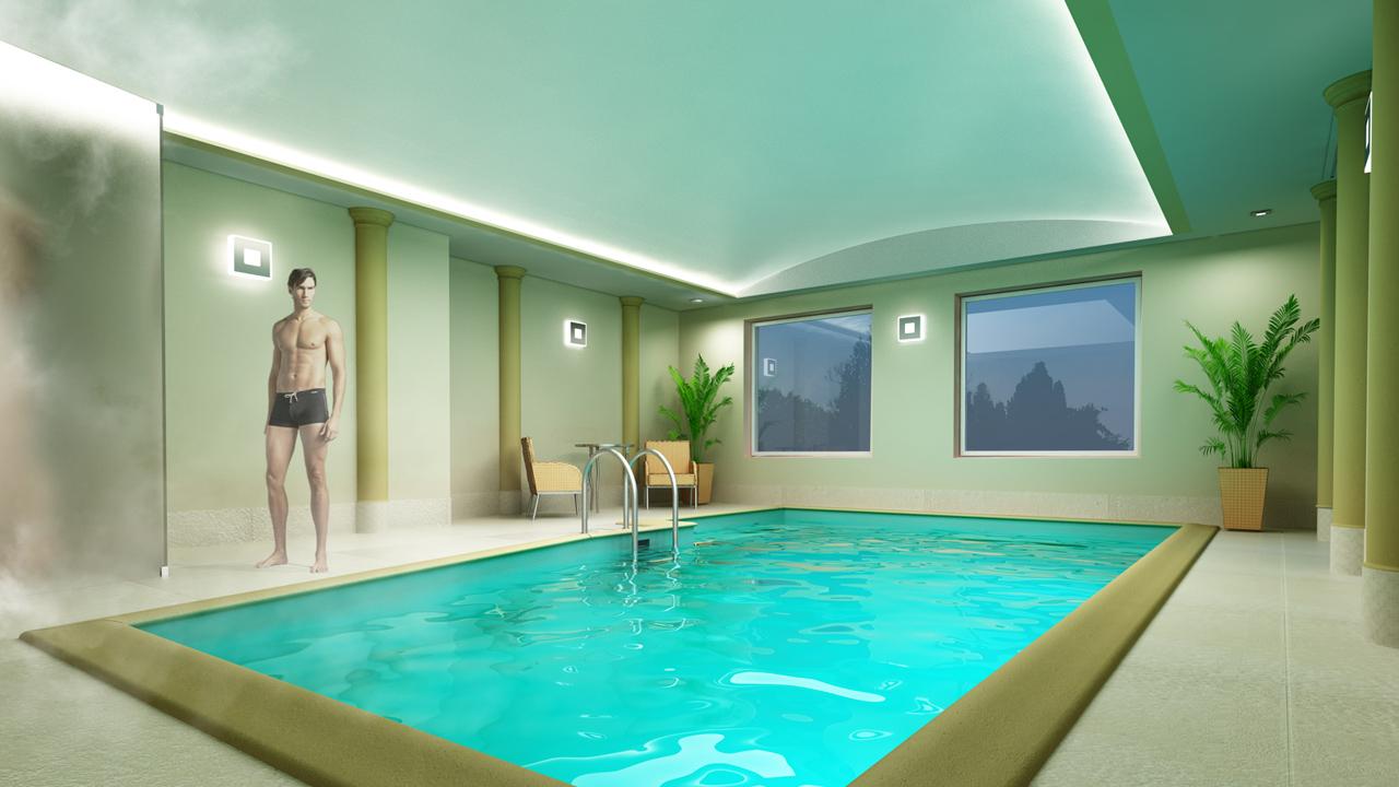 wizualizacja prywatnego basenu z natryskiem
