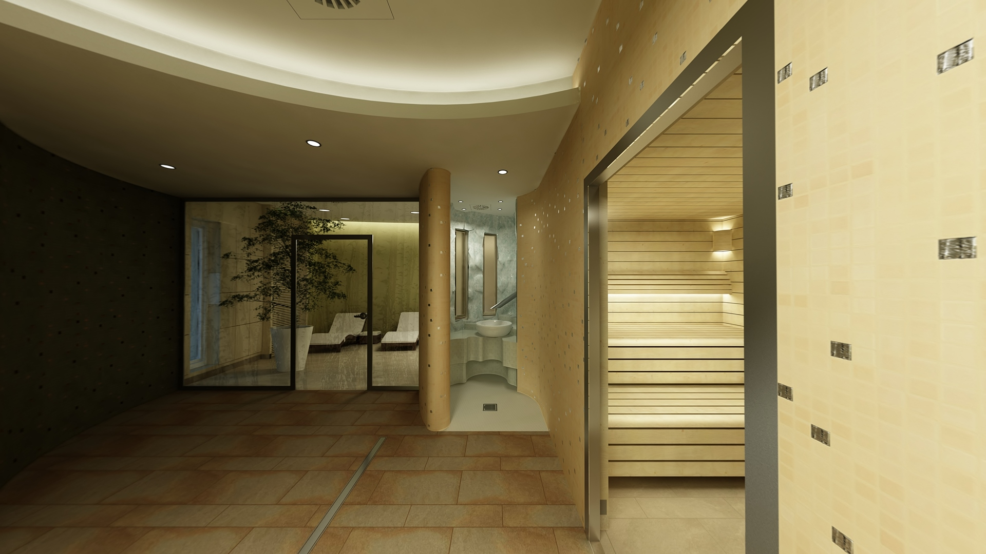strefa mokra SPA-widok na grotę i saunę