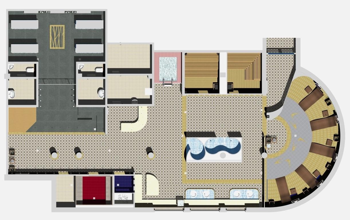 wizualizacja projektu łaźni i saun z wypoczywalnią