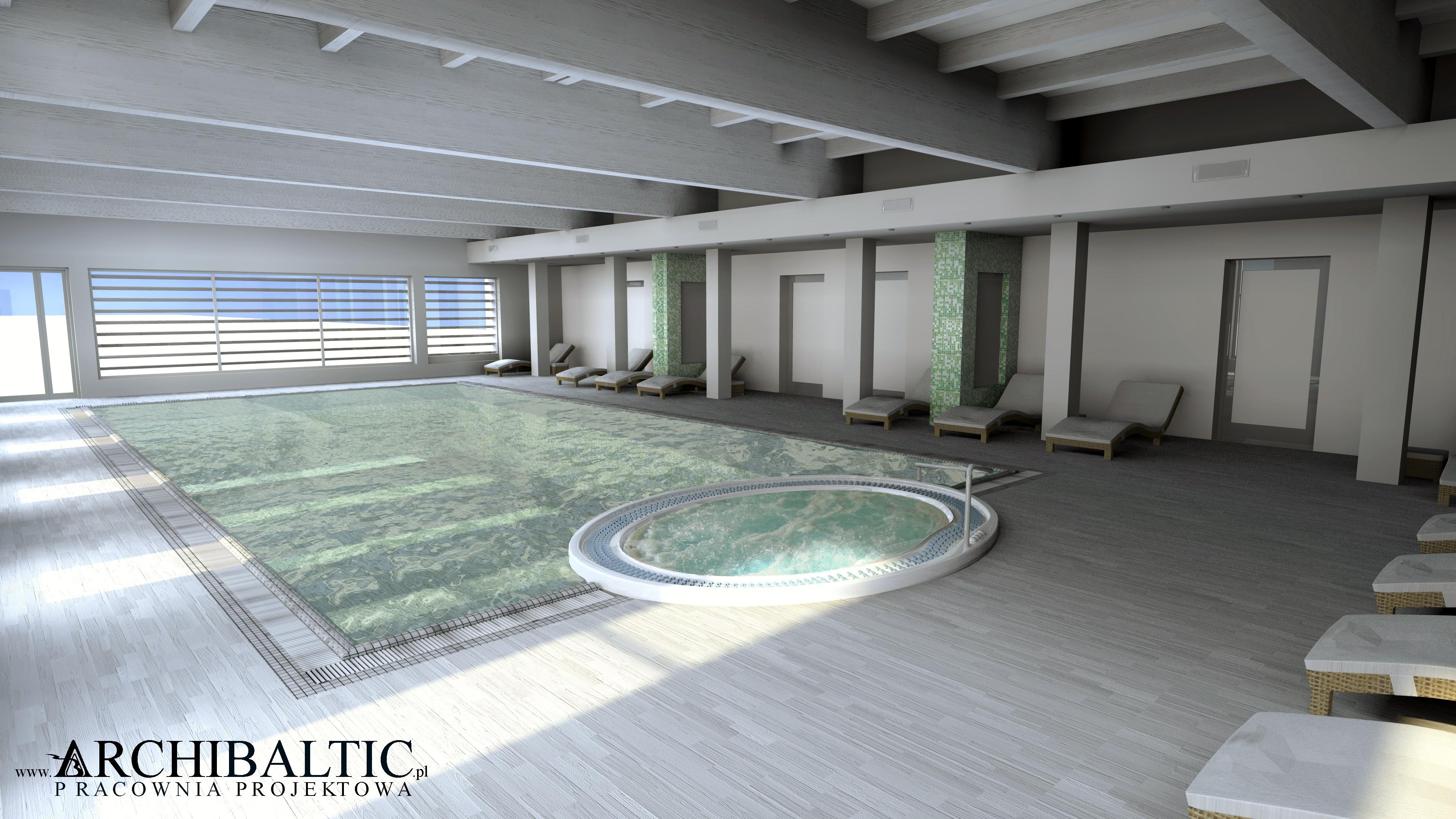 projekt koncepcyjny wnętrza wnętza basenu hotelowego z jacuzzi