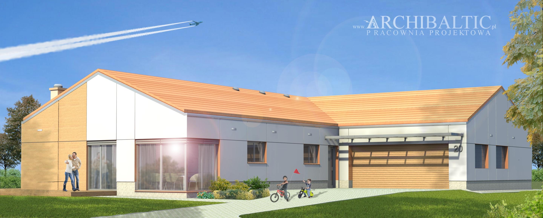 dom jednorodzinny z cofniętym garażem